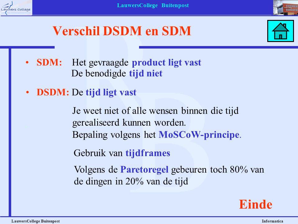 LauwersCollege Buitenpost LauwersCollege Buitenpost Informatica Verschil DSDM en SDM SDM: Het gevraagde product ligt vast De benodigde tijd niet Einde
