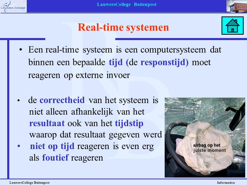 LauwersCollege Buitenpost LauwersCollege Buitenpost Informatica Real-time systemen Een real-time systeem is een computersysteem dat binnen een bepaald