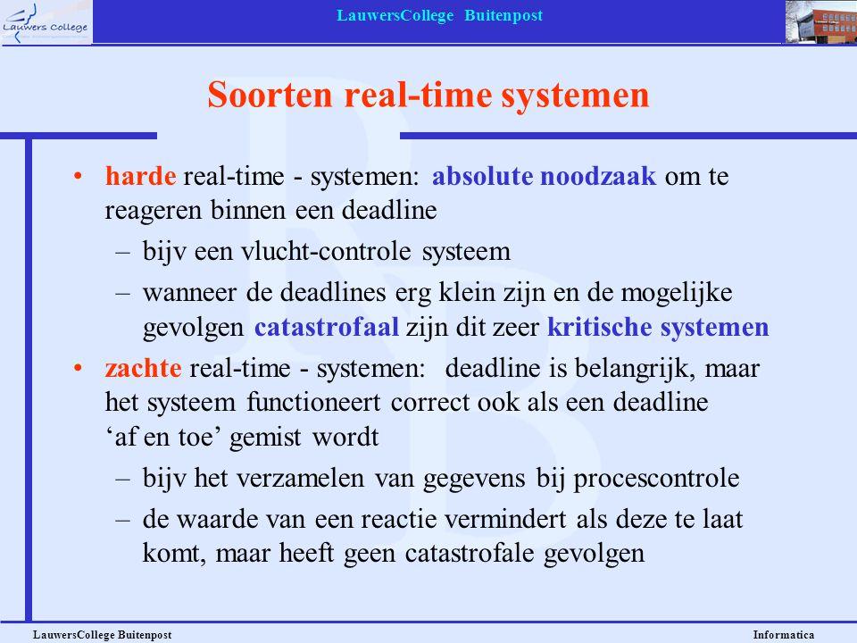 LauwersCollege Buitenpost LauwersCollege Buitenpost Informatica Soorten real-time systemen harde real-time - systemen: absolute noodzaak om te reagere