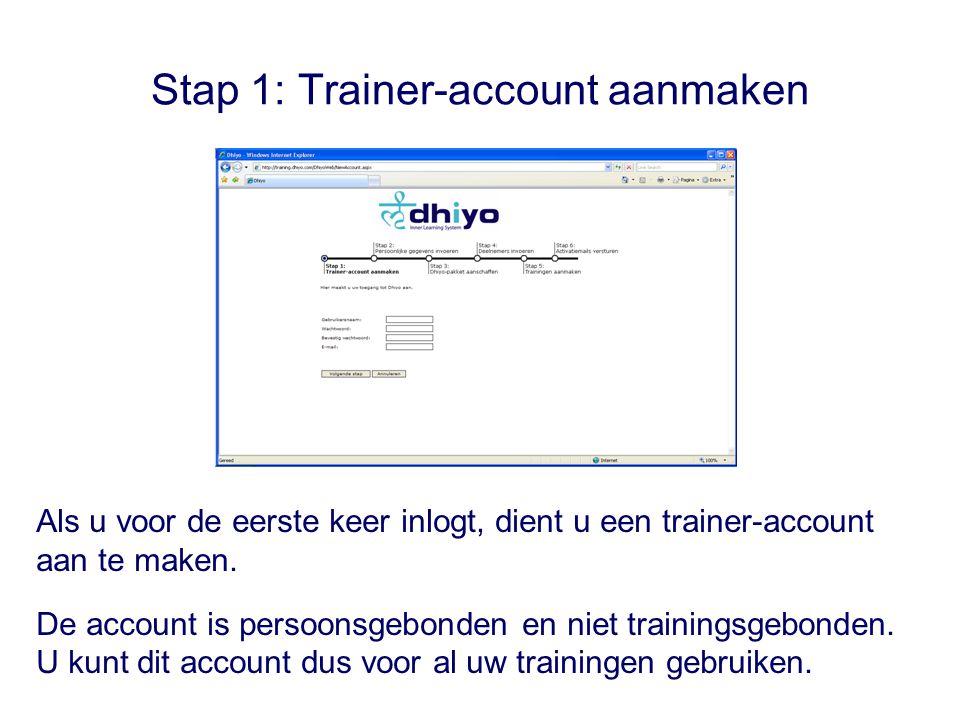 Stap 1: Trainer-account aanmaken Als u voor de eerste keer inlogt, dient u een trainer-account aan te maken.
