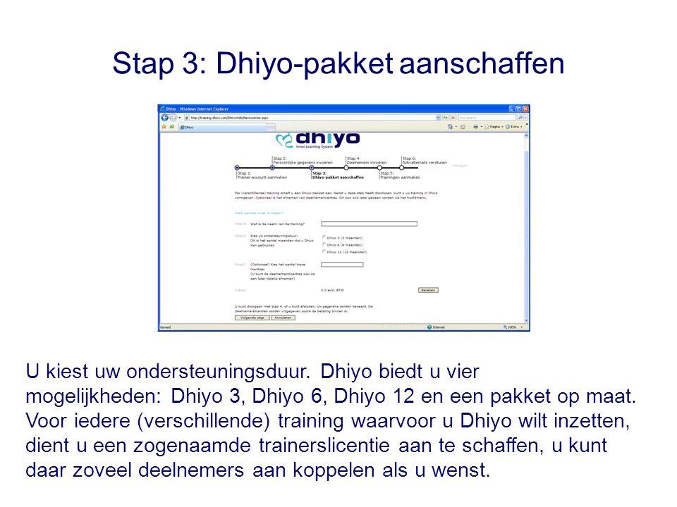 Stap 3: Dhiyo-pakket aanschaffen U kiest uw ondersteuningsduur.
