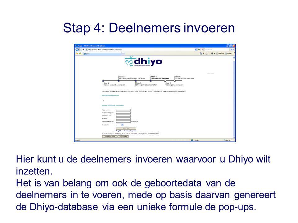Stap 4: Deelnemers invoeren Hier kunt u de deelnemers invoeren waarvoor u Dhiyo wilt inzetten.