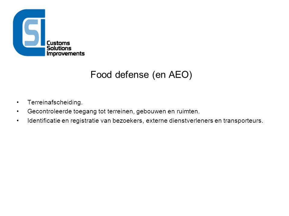Food defense (en AEO) Terreinafscheiding. Gecontroleerde toegang tot terreinen, gebouwen en ruimten. Identificatie en registratie van bezoekers, exter