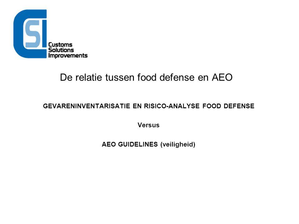 De relatie tussen food defense en AEO GEVARENINVENTARISATIE EN RISICO-ANALYSE FOOD DEFENSE Versus AEO GUIDELINES (veiligheid)