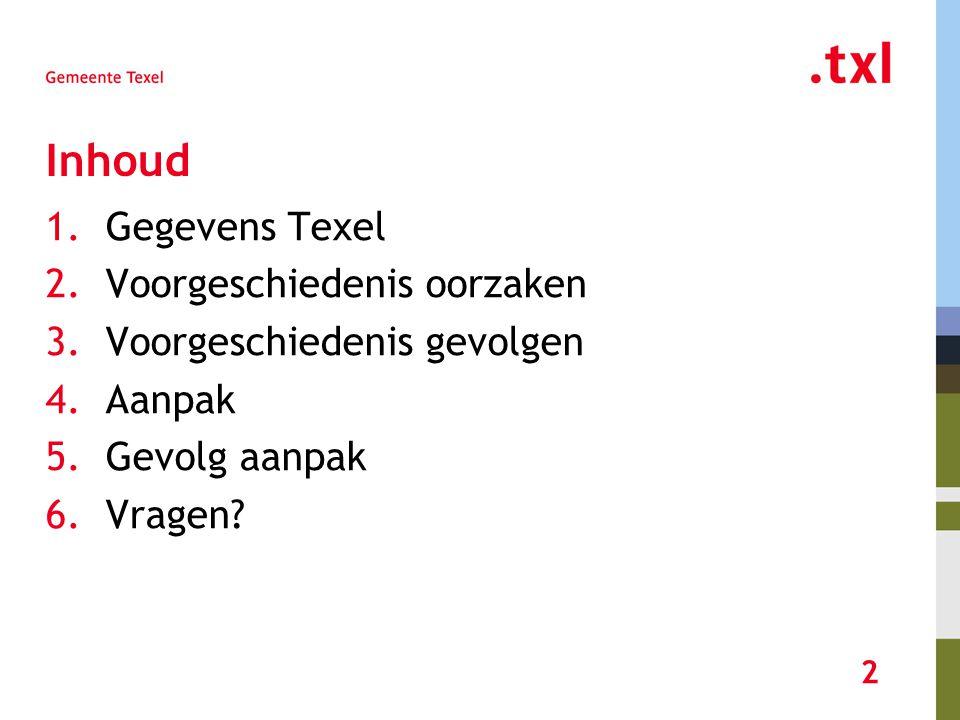3 Gegevens Texel 13.700 Inwoners 11.500 WOZ objecten 9.000 Woningen waarvan ongeveer 1/3 recreatiewoningen 2.500 Niet-woningen