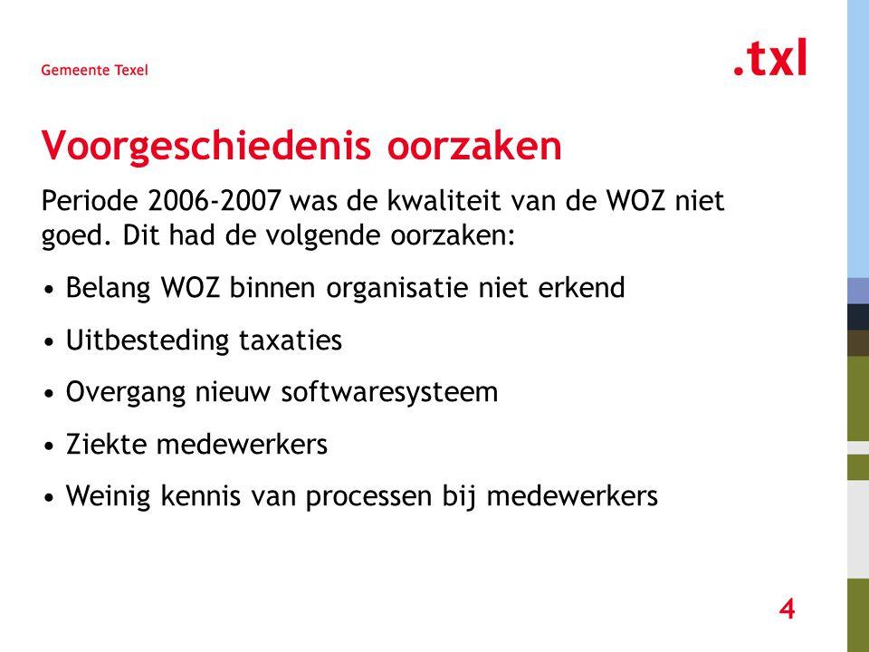 4 Voorgeschiedenis oorzaken Periode 2006-2007 was de kwaliteit van de WOZ niet goed.
