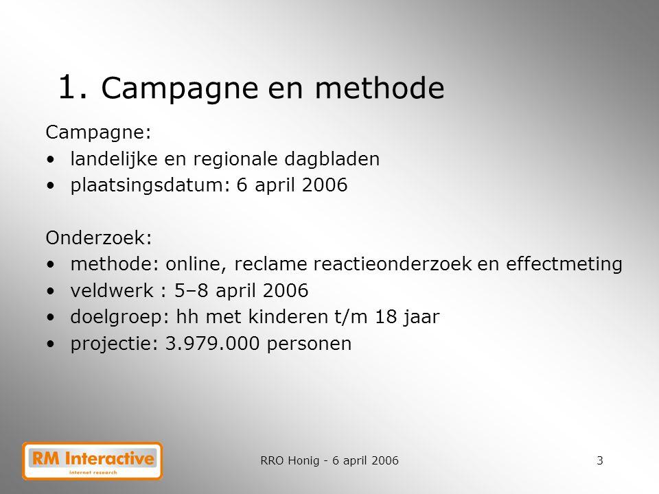RRO Honig - 6 april 20063 1. Campagne en methode Campagne: landelijke en regionale dagbladen plaatsingsdatum: 6 april 2006 Onderzoek: methode: online,