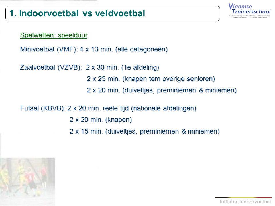 Initiator Indoorvoetbal 1. Indoorvoetbal vs veldvoetbal Spelwetten: speelduur Minivoetbal (VMF): 4 x 13 min. (alle categorieën) Zaalvoetbal (VZVB): 2