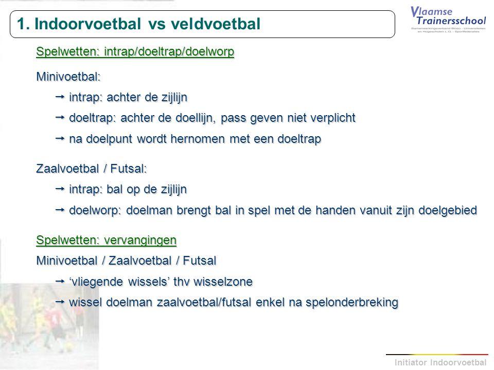 Initiator Indoorvoetbal 1. Indoorvoetbal vs veldvoetbal Spelwetten: intrap/doeltrap/doelworp Minivoetbal:  intrap: achter de zijlijn  doeltrap: acht