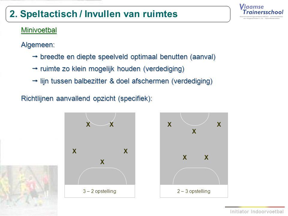 Initiator Indoorvoetbal 2. Speltactisch / Invullen van ruimtes MinivoetbalAlgemeen:  breedte en diepte speelveld optimaal benutten (aanval)  ruimte