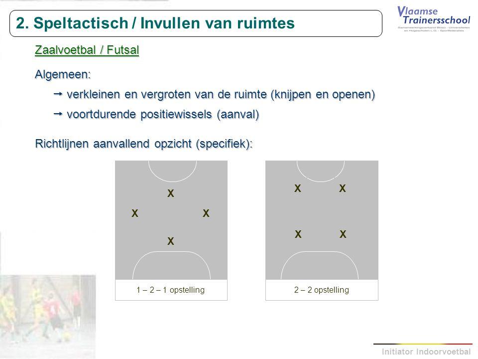 Initiator Indoorvoetbal 2. Speltactisch / Invullen van ruimtes Zaalvoetbal / Futsal Algemeen:  verkleinen en vergroten van de ruimte (knijpen en open