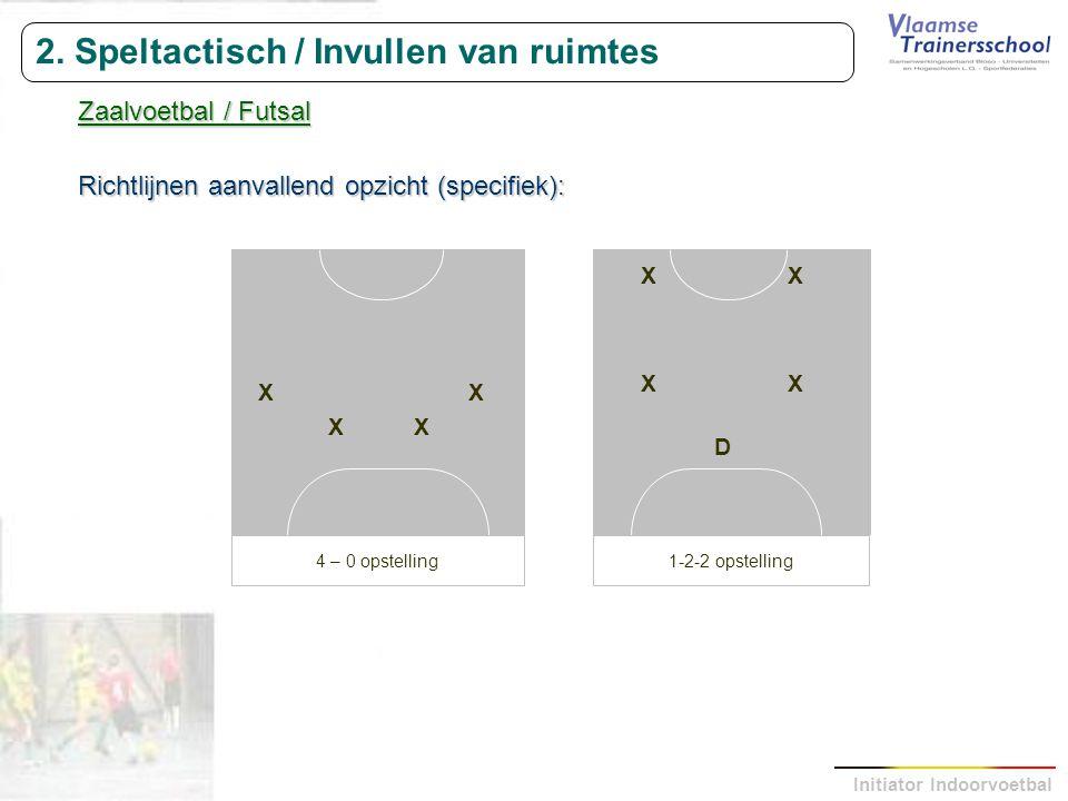Initiator Indoorvoetbal 2. Speltactisch / Invullen van ruimtes Zaalvoetbal / Futsal Richtlijnen aanvallend opzicht (specifiek): XX XX 4 – 0 opstelling