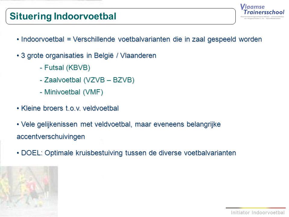 Initiator Indoorvoetbal Situering Indoorvoetbal Indoorvoetbal = Verschillende voetbalvarianten die in zaal gespeeld worden Indoorvoetbal = Verschillen