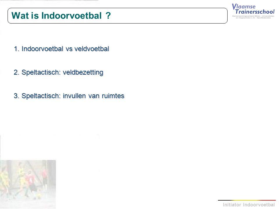 Initiator Indoorvoetbal Wat is Indoorvoetbal ? 1. Indoorvoetbal vs veldvoetbal 2. Speltactisch: veldbezetting 3. Speltactisch: invullen van ruimtes
