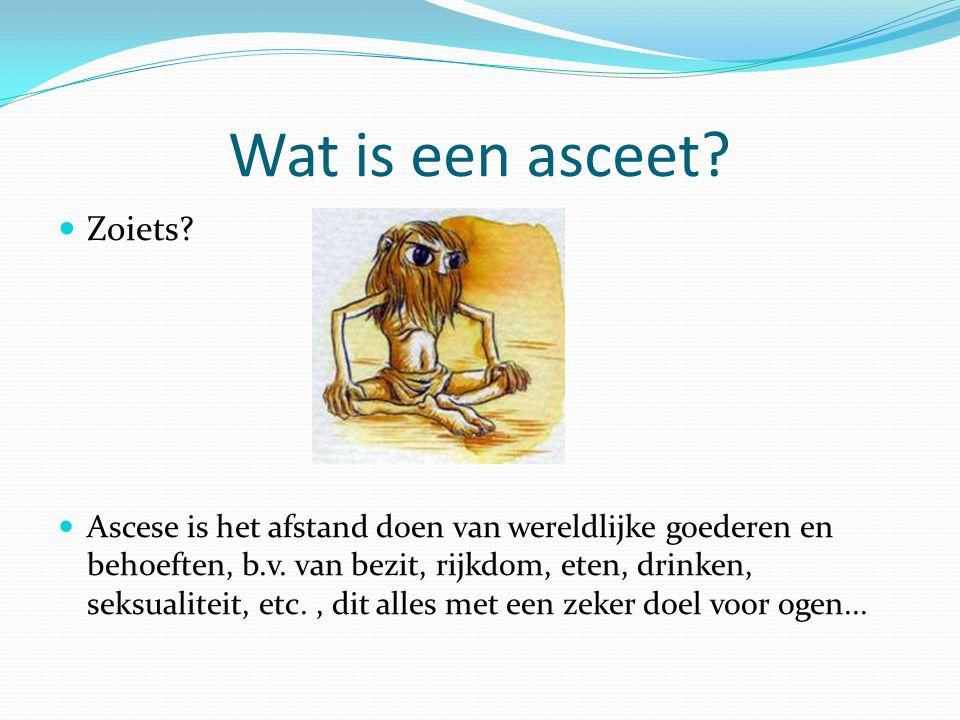 Wat is een asceet? Zoiets? Ascese is het afstand doen van wereldlijke goederen en behoeften, b.v. van bezit, rijkdom, eten, drinken, seksualiteit, etc