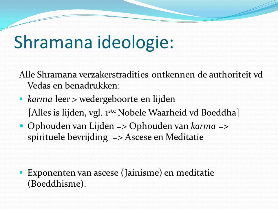 Shramana ideologie: Alle Shramana verzakerstradities ontkennen de authoriteit vd Vedas en benadrukken:  karma leer > wedergeboorte en lijden [Alles i