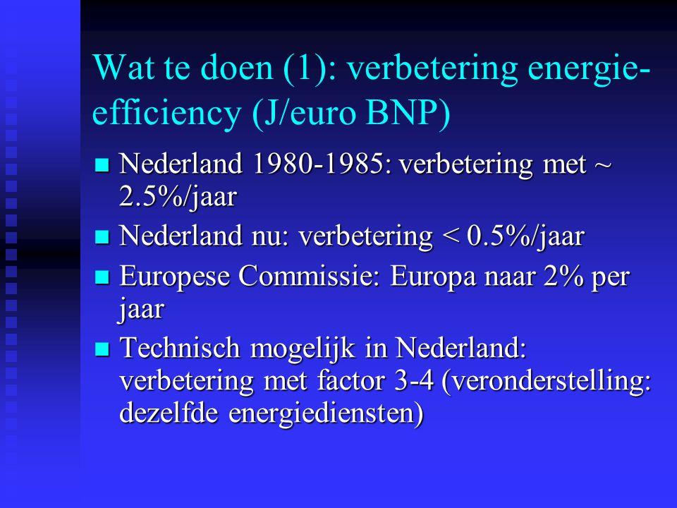Wat te doen (1): verbetering energie- efficiency (J/euro BNP) Nederland 1980-1985: verbetering met ~ 2.5%/jaar Nederland 1980-1985: verbetering met ~ 2.5%/jaar Nederland nu: verbetering < 0.5%/jaar Nederland nu: verbetering < 0.5%/jaar Europese Commissie: Europa naar 2% per jaar Europese Commissie: Europa naar 2% per jaar Technisch mogelijk in Nederland: verbetering met factor 3-4 (veronderstelling: dezelfde energiediensten) Technisch mogelijk in Nederland: verbetering met factor 3-4 (veronderstelling: dezelfde energiediensten)