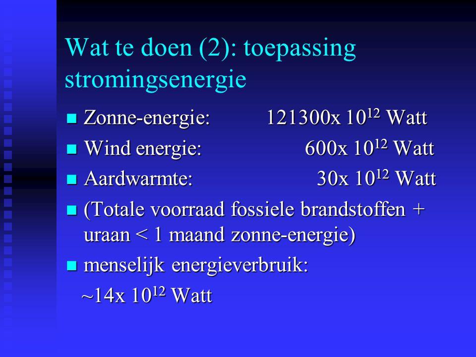 Wat te doen (2): toepassing stromingsenergie Zonne-energie: 121300x 10 12 Watt Zonne-energie: 121300x 10 12 Watt Wind energie: 600x 10 12 Watt Wind energie: 600x 10 12 Watt Aardwarmte: 30x 10 12 Watt Aardwarmte: 30x 10 12 Watt (Totale voorraad fossiele brandstoffen + uraan < 1 maand zonne-energie) (Totale voorraad fossiele brandstoffen + uraan < 1 maand zonne-energie) menselijk energieverbruik: menselijk energieverbruik: ~14x 10 12 Watt ~14x 10 12 Watt