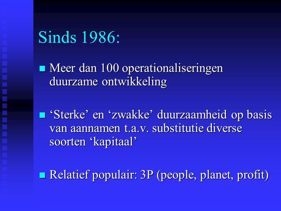 Sinds 1986: Meer dan 100 operationaliseringen duurzame ontwikkeling Meer dan 100 operationaliseringen duurzame ontwikkeling 'Sterke' en 'zwakke' duurzaamheid op basis van aannamen t.a.v.