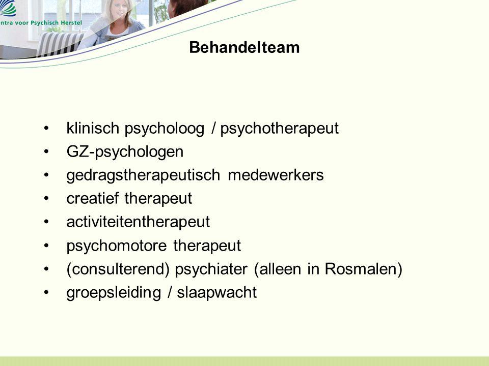 Behandelteam klinisch psycholoog / psychotherapeut GZ-psychologen gedragstherapeutisch medewerkers creatief therapeut activiteitentherapeut psychomotore therapeut (consulterend) psychiater (alleen in Rosmalen) groepsleiding / slaapwacht
