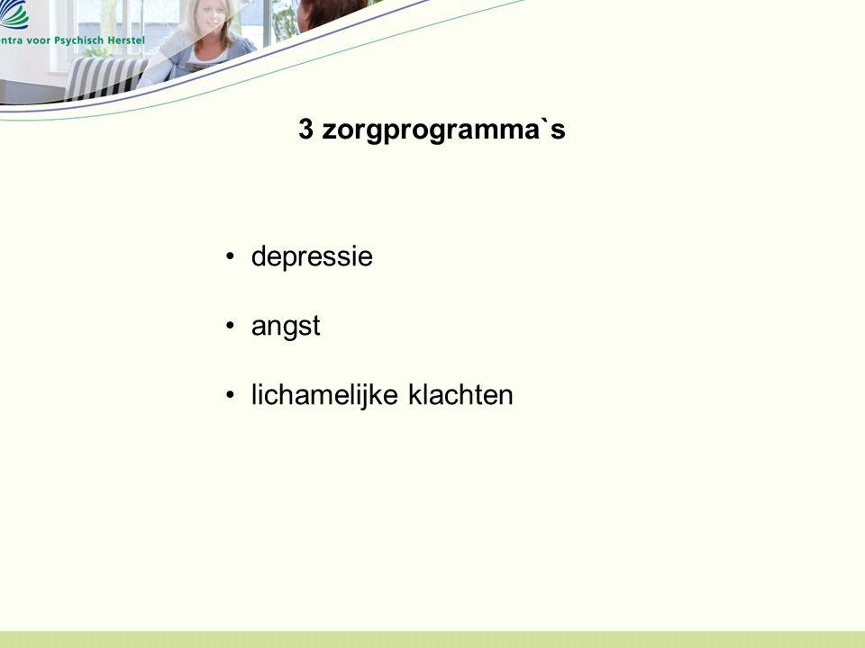 3 zorgprogramma`s depressie angst lichamelijke klachten