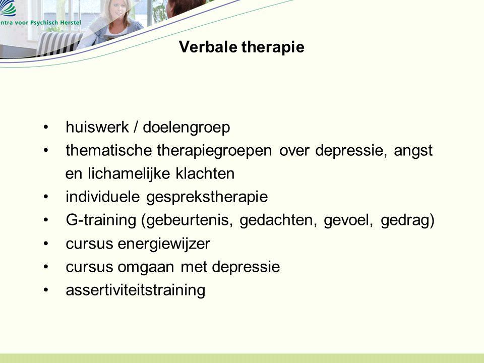 Verbale therapie huiswerk / doelengroep thematische therapiegroepen over depressie, angst en lichamelijke klachten individuele gesprekstherapie G-training (gebeurtenis, gedachten, gevoel, gedrag) cursus energiewijzer cursus omgaan met depressie assertiviteitstraining