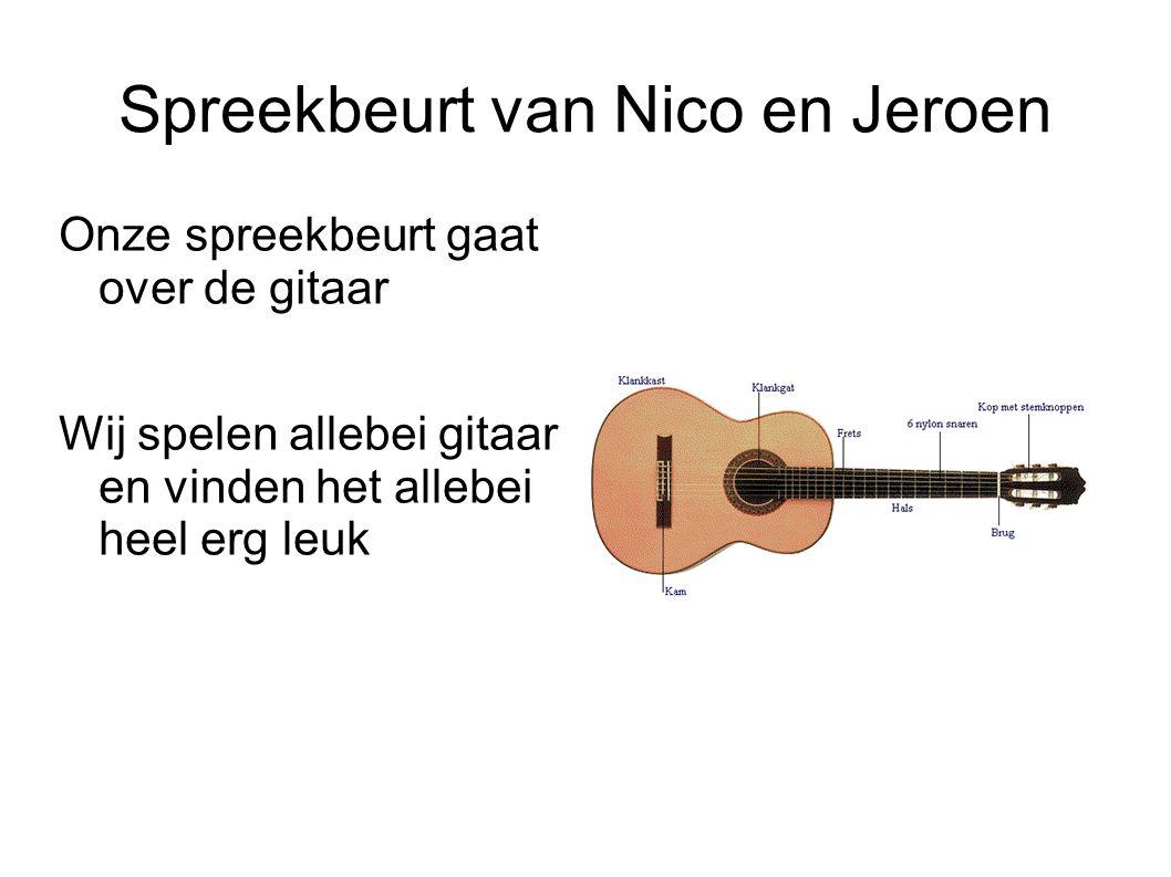 Spreekbeurt van Nico en Jeroen Onze spreekbeurt gaat over de gitaar Wij spelen allebei gitaar en vinden het allebei heel erg leuk