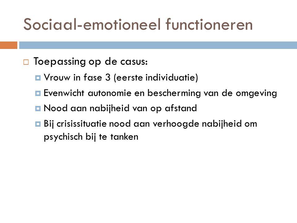 Sociaal-emotioneel functioneren  Toepassing op de casus:  Vrouw in fase 3 (eerste individuatie)  Evenwicht autonomie en bescherming van de omgeving