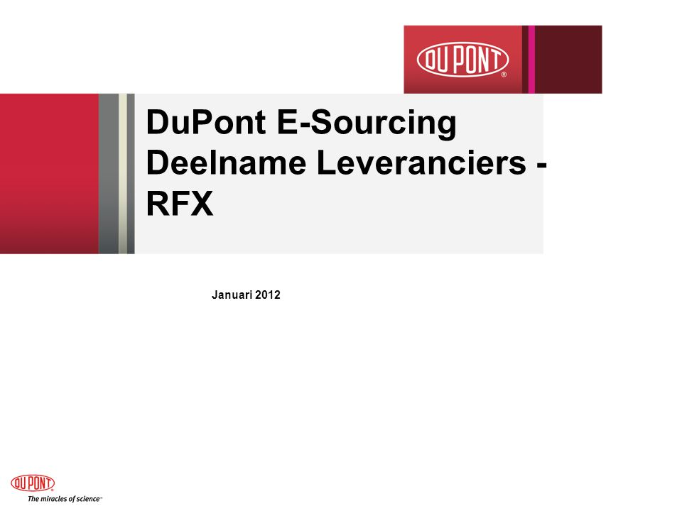 DuPont E-Sourcing Deelname Leveranciers - RFX Januari 2012