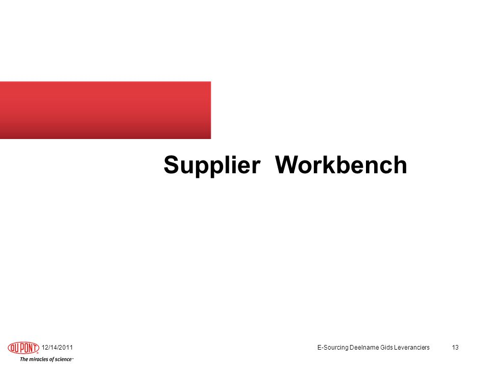 Supplier Workbench 12/14/2011E-Sourcing Deelname Gids Leveranciers13
