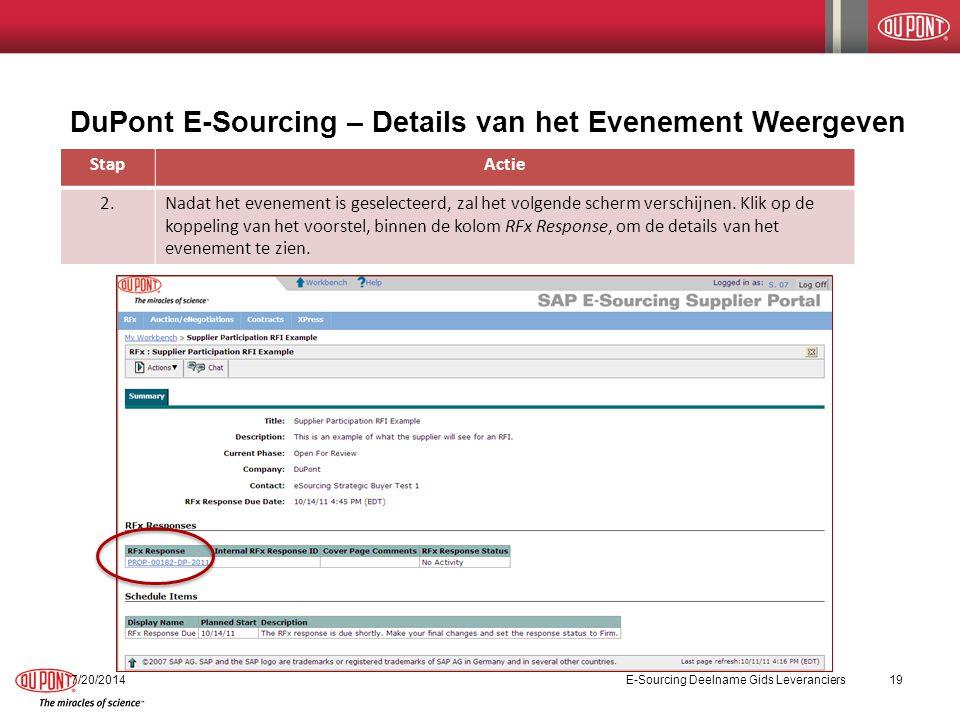 DuPont E-Sourcing – Details van het Evenement Weergeven StapActie 2.Nadat het evenement is geselecteerd, zal het volgende scherm verschijnen.
