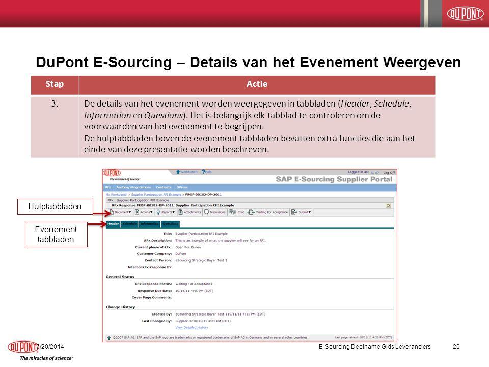DuPont E-Sourcing – Details van het Evenement Weergeven StapActie 3.De details van het evenement worden weergegeven in tabbladen (Header, Schedule, Information en Questions).
