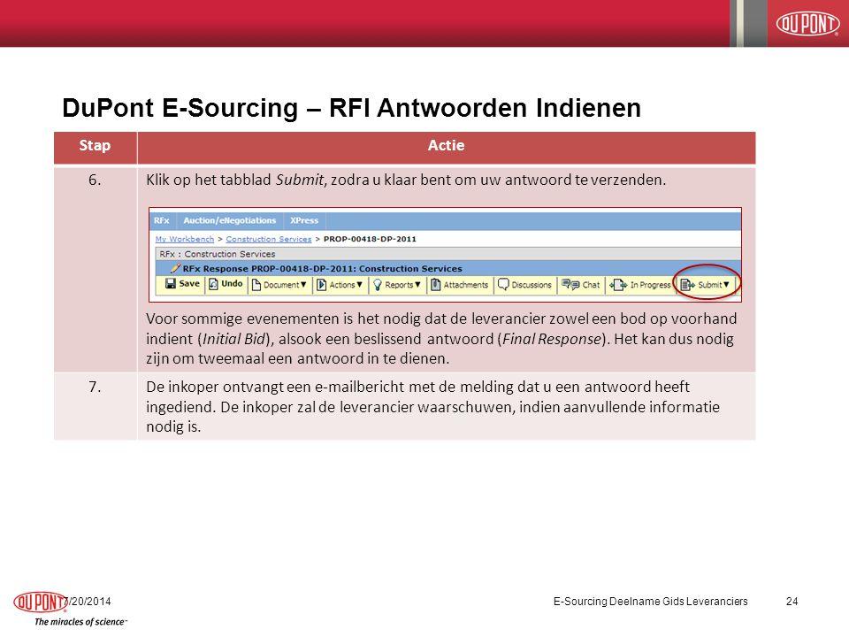 DuPont E-Sourcing – RFI Antwoorden Indienen 7/20/2014E-Sourcing Deelname Gids Leveranciers24 StapActie 6.Klik op het tabblad Submit, zodra u klaar bent om uw antwoord te verzenden.