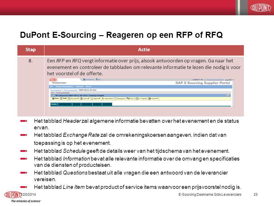 DuPont E-Sourcing – Reageren op een RFP of RFQ 7/20/2014E-Sourcing Deelname Gids Leveranciers26 StapActie 9.Gebruik het tabblad Line Items om een voorstel of offerte in te voeren.