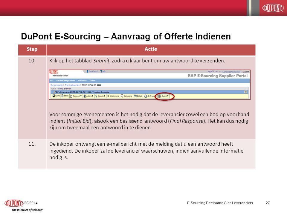 DuPont E-Sourcing – Aanvraag of Offerte Indienen 7/20/2014E-Sourcing Deelname Gids Leveranciers27 StapActie 10.Klik op het tabblad Submit, zodra u klaar bent om uw antwoord te verzenden.