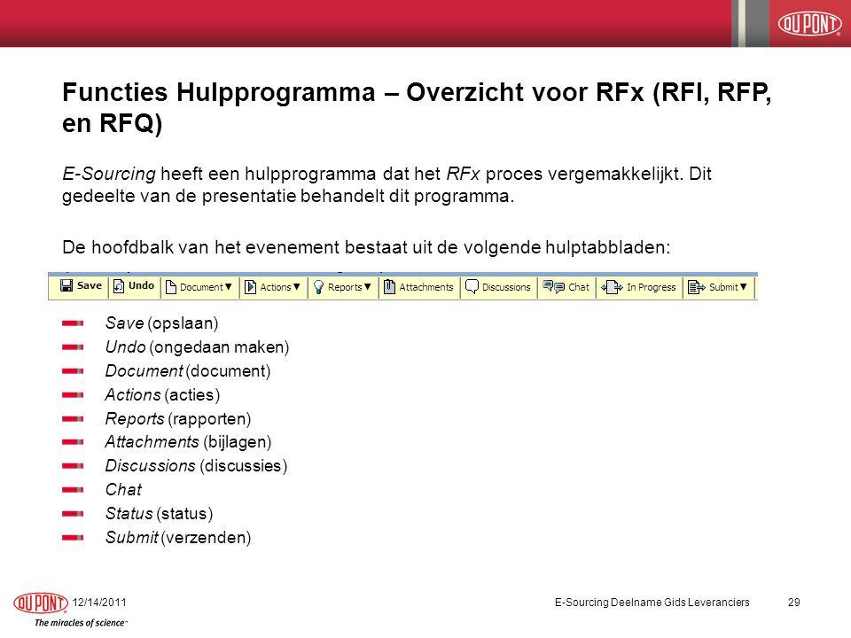 Functies Hulpprogramma voor RFx Het eerste hulptabblad in de balk is de functie Save.