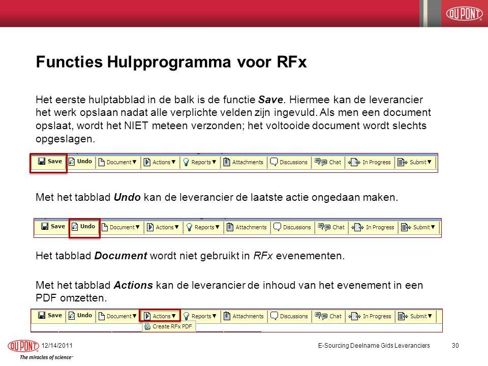 Functies Hulpprogramma – Rapporten voor RFx Het tabblad Reports leidt de leverancier naar de koppeling Unanswered Questions binnen het evenement.