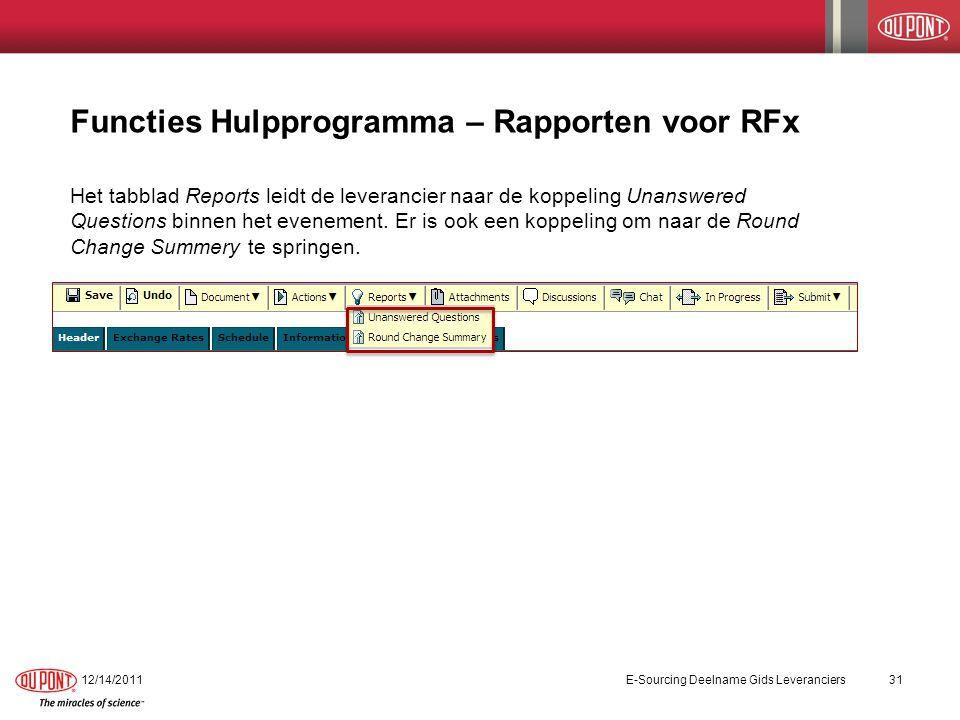 Functies Hulpprogramma - RFx Bijlagen De functie Attachment brengt de leverancier naar de koppelingen van alle bijlagen die een inkoper voor het evenement heeft aangeboden.