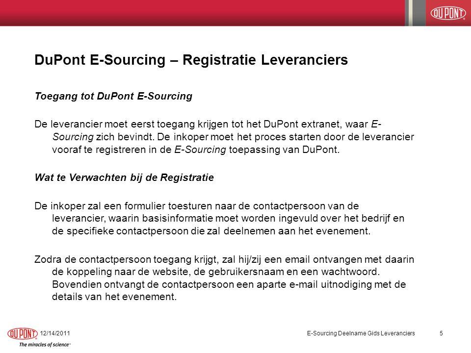 Toegang DuPont E-Sourcing 12/14/2011E-Sourcing Deelname Gids Leveranciers6