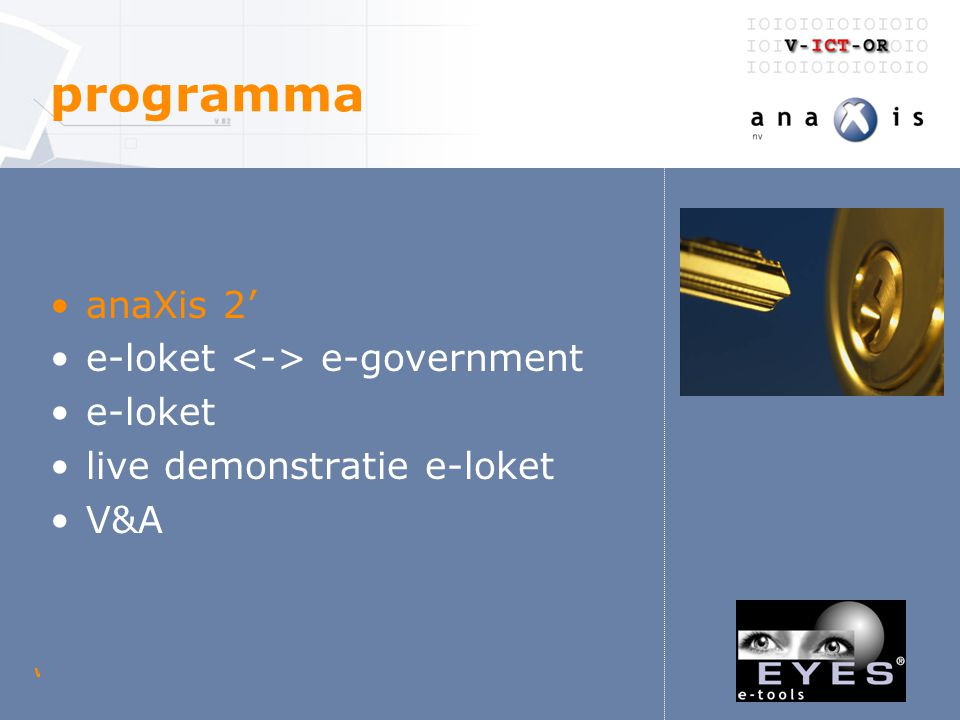 woensdag 23 april 2003 V-ICT-OR digitaal loket anaXis - historiek vóór 2000 –anaXis is de ICT afdeling van Technum Flanders Engineering.