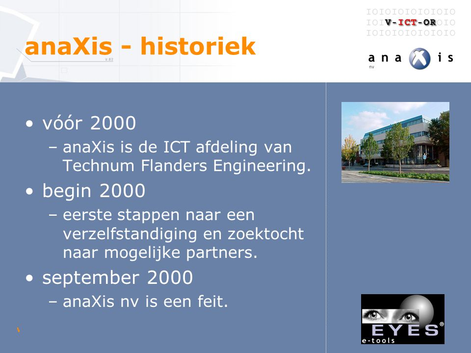 woensdag 23 april 2003 V-ICT-OR digitaal loket anaXis - diensten internet mobile services multimedia netwerk & communicatie gis & mapping outsourcing navision