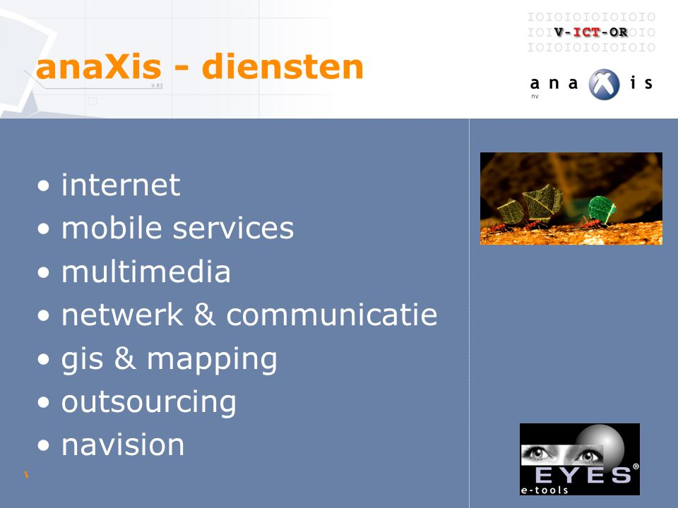 woensdag 23 april 2003 V-ICT-OR digitaal loket anaXis - diensten internet mobile services multimedia netwerk & communicatie gis & mapping outsourcing navision