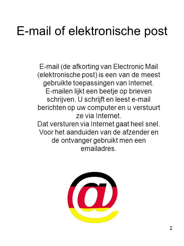 Nadia van Turnhout2 E-mail of elektronische post E-mail (de afkorting van Electronic Mail (elektronische post) is een van de meest gebruikte toepassingen van Internet.