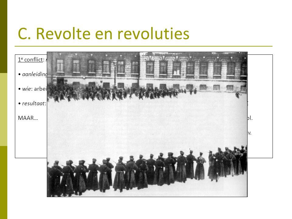 C. Revolte en revoluties 1 e conflict: revolte 1905 aanleiding: verlies Russisch-Japanse oorlog wie: arbeiders, burgerij, soldaten resultaat: ° Doema