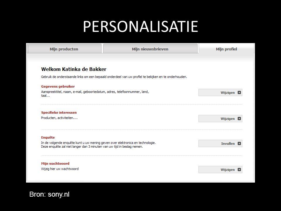 PERSONALISATIE Bron: sony.nl