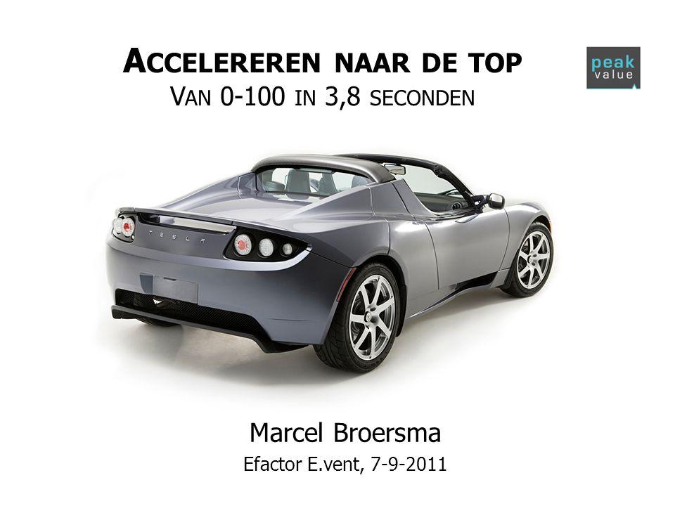 A CCELEREREN NAAR DE TOP V AN 0-100 IN 3,8 SECONDEN Marcel Broersma Efactor E.vent, 7-9-2011