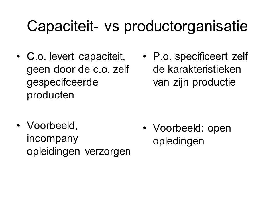 Inrichting capaciteit- vs productorganisatie Grote verschillen in inrichting van de volgende functies: –Marketing –Financiering –Control Niet zo grote verschillen in productie zelf