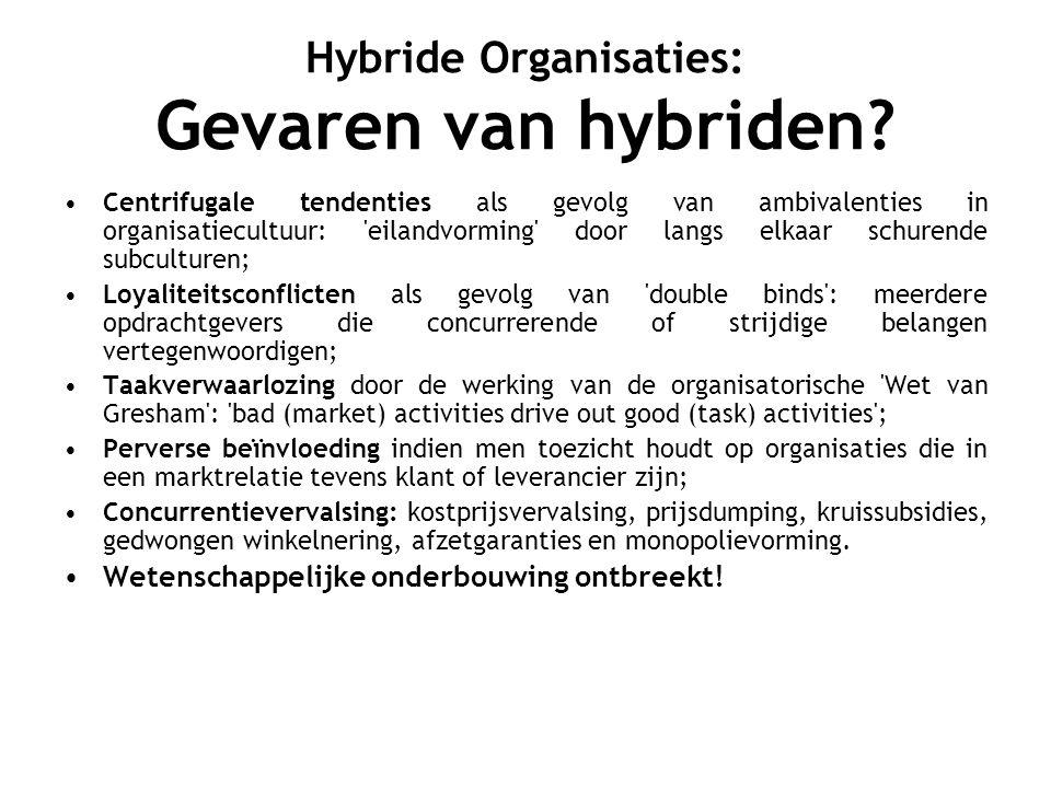 Hybride Organisaties: opvatting auteur Aangezien er vele duizenden hybride organisaties bestaan, zou een verbod grote schaden veroorzaken.