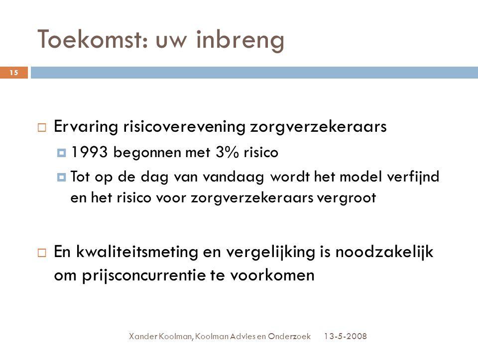 Toekomst: uw inbreng 13-5-2008Xander Koolman, Koolman Advies en Onderzoek 15  Ervaring risicoverevening zorgverzekeraars  1993 begonnen met 3% risic