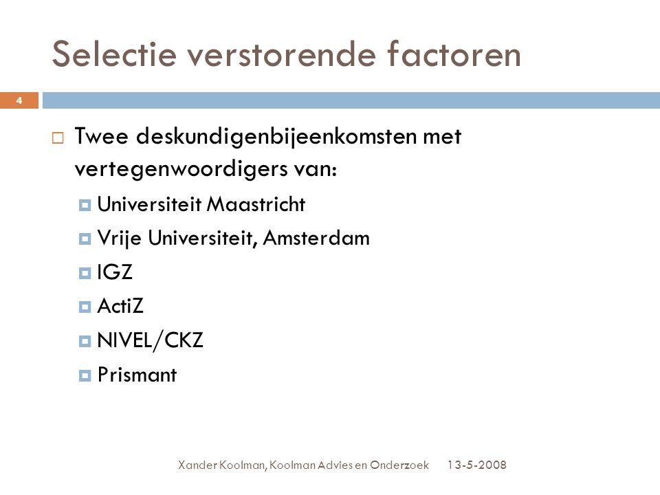 Selectie verstorende factoren 13-5-2008Xander Koolman, Koolman Advies en Onderzoek 4  Twee deskundigenbijeenkomsten met vertegenwoordigers van:  Uni